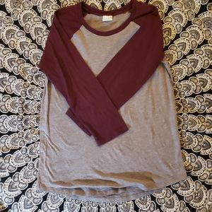 Victoria's Secret Pink Large Gray & Maroon Raglan